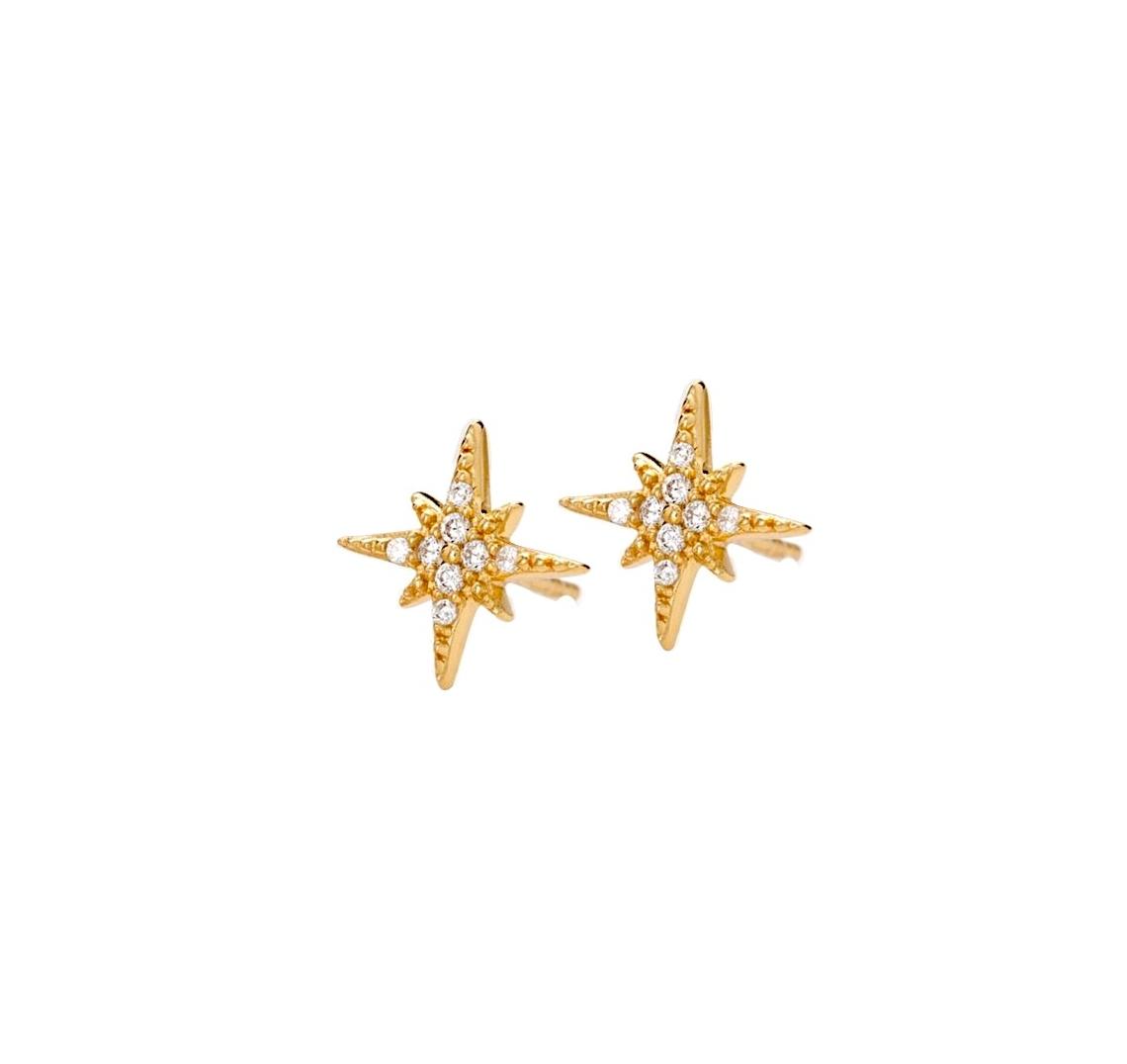 bfc9c60c66b8 Pendientes estrella del norte oro